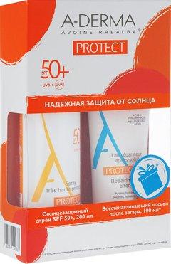 A-Derma Protect набор cолнцезащитный, спрей для детей SPF 50 + восстанавливающий лосьон после загара