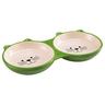 Миска для кошек MAJOR Kitty двойная зеленая керамика 22х12х2,7см