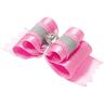 Бантик V.I.PET (пара) Ностальжи светоотражающий тройной объёмный (розовый) 4,5х1,5см