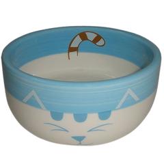 Миска для животных FOXIE Blue Cat голубая керамическая 11,5х11,5х5см
