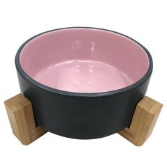 Миска для животных FOXIE Bamboo Bowl розовая керамическая 16х16х6,5см